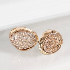 Jewelry - One (1) Pair of Rose Gold Druzy Earrings